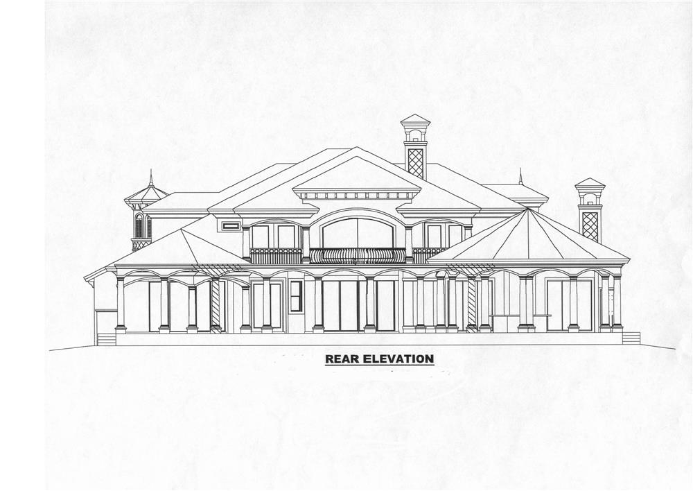 175-1073: Home Plan Rear Elevation