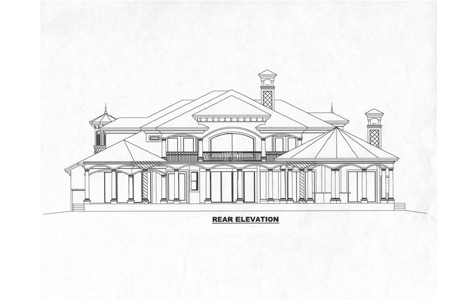 Home Plan Rear Elevation of this 5-Bedroom,6780 Sq Ft Plan -175-1073