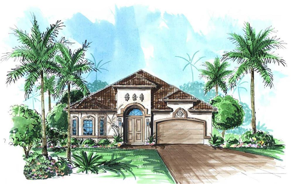 Mediterranean House Plans color front elevation.