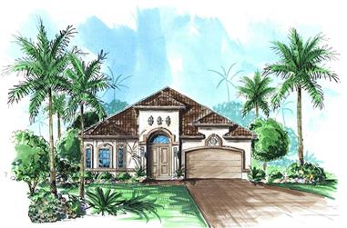 4-Bedroom, 2457 Sq Ft Florida Style House Plan - 175-1074 - Front Exterior