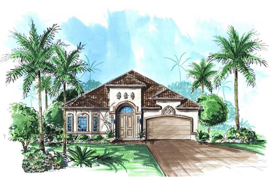 Mediterranean House Plans color front elevation.