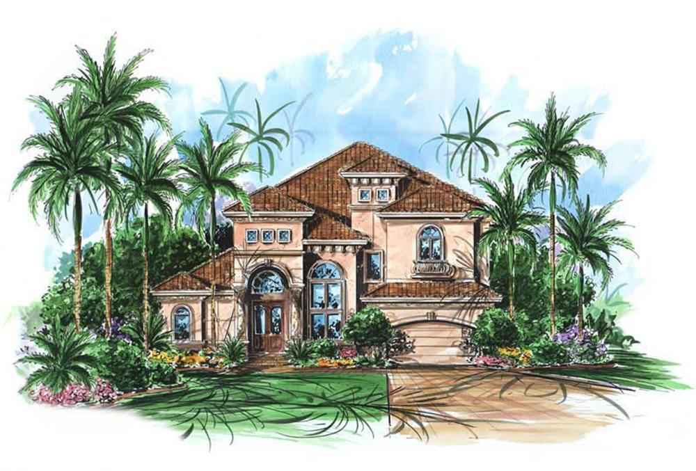 This image shows the exterior of these Mediterranean House Plans.