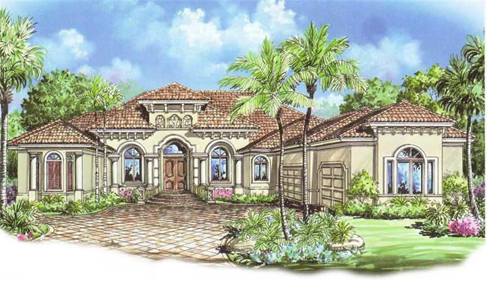 This image shows the front elevation for these Mediterranean House Plans.