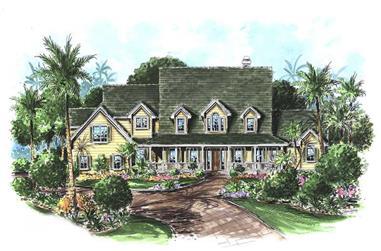 4-Bedroom, 3646 Sq Ft Coastal House Plan - 175-1083 - Front Exterior
