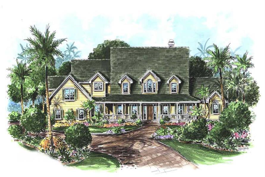 4-Bedroom, 3646 Sq Ft Coastal House Plan - 175-1083 - Front Exterior
