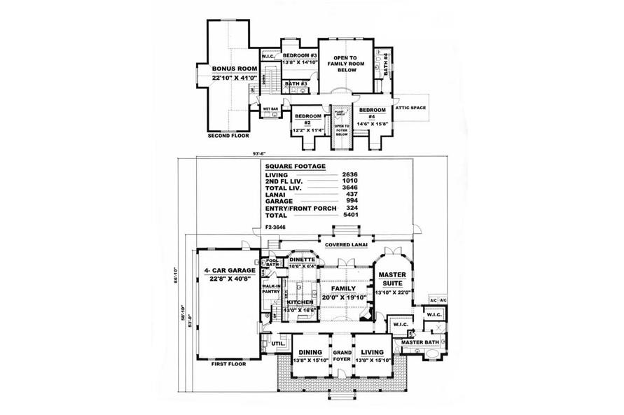 Home Plan Rendering of this 4-Bedroom,3646 Sq Ft Plan -175-1083