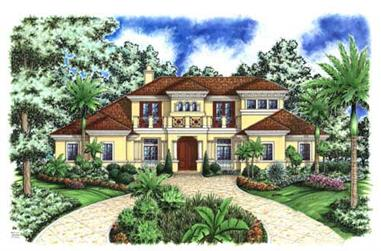 4-Bedroom, 5126 Sq Ft Florida Style Home Plan - 175-1084 - Main Exterior