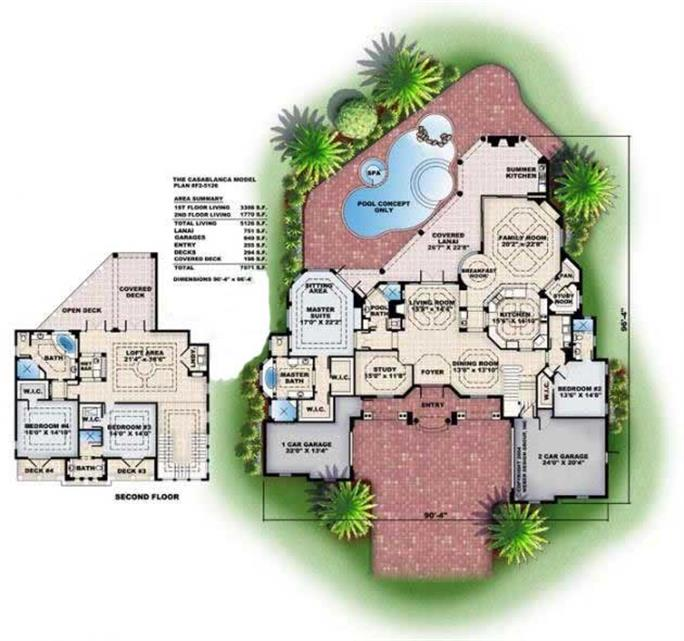 floor plans for these mediterranean house plans - Mediterranean House Plans