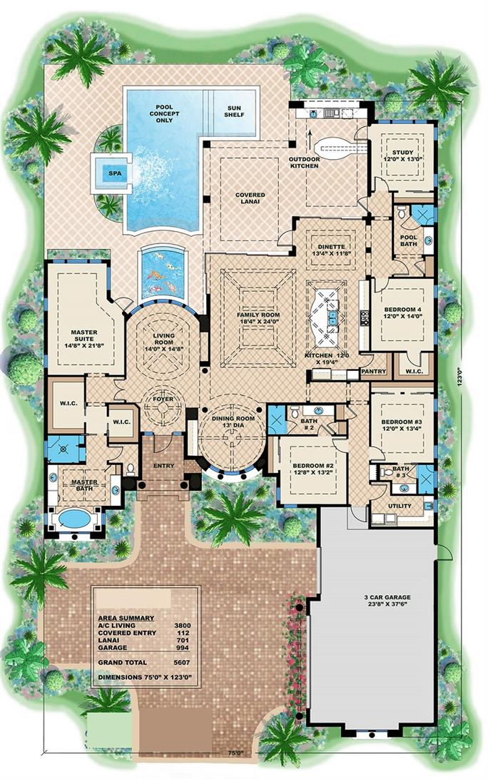 4 Bedrm 3800 Sq Ft Mediterranean House Plan 175 1086