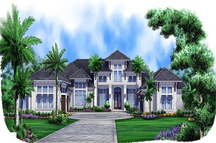 4-Bedroom, 5377 Sq Ft Mediterranean Home Plan - 175-1087 - Main Exterior