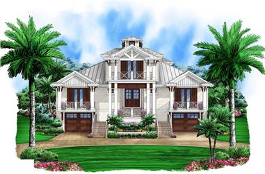 5-Bedroom, 4435 Sq Ft Florida Style Home Plan - 175-1088 - Main Exterior