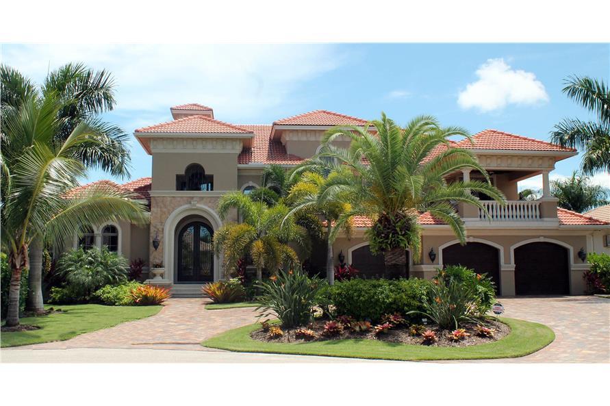 4-Bedroom, 4628 Sq Ft Mediterranean Home Plan - 175-1090 - Main Exterior