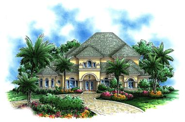 Front elevation of European home (ThePlanCollection: House Plan #175-1091)