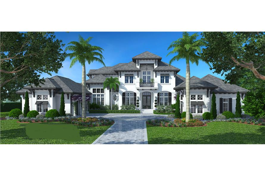 Front elevation of Luxury home (ThePlanCollection: House Plan #175-1094)
