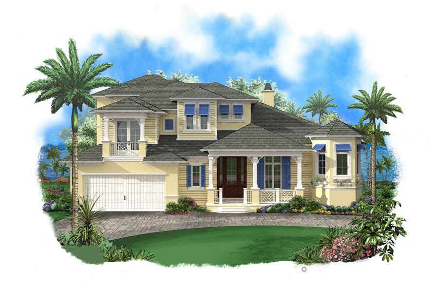 Front elevation of Luxury home (ThePlanCollection: House Plan #175-1095)