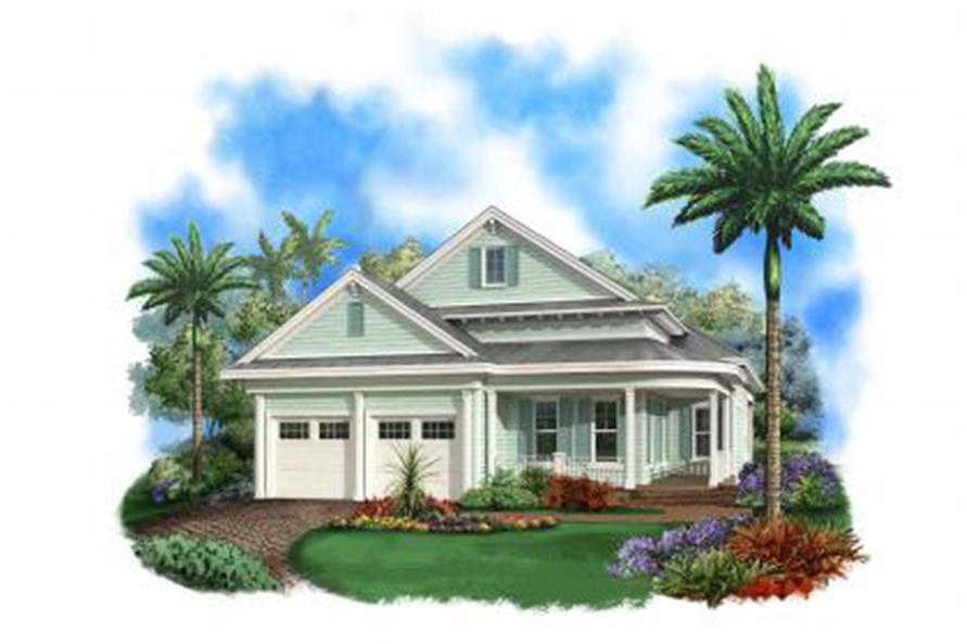 Front elevation of Florida Style home (ThePlanCollection: House Plan #175-1096)