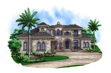 Front elevation of Luxury home (ThePlanCollection: House Plan #175-1097)