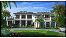 Front elevation of Luxury home (ThePlanCollection: House Plan #175-1098)