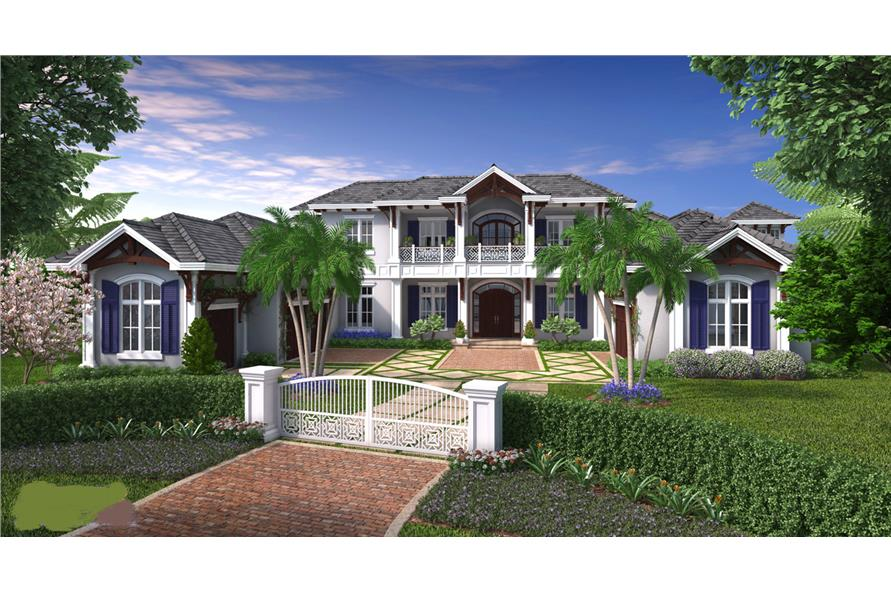 Front elevation of Luxury home (ThePlanCollection: House Plan #175-1099)