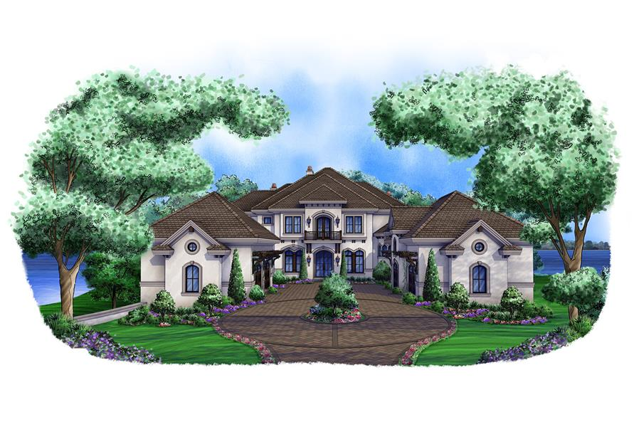 Front elevation of Luxury home (ThePlanCollection: House Plan #175-1100)