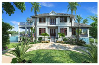 5-Bedroom, 6152 Sq Ft Luxury House Plan - 175-1101 - Front Exterior