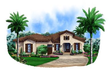 3-Bedroom, 2583 Sq Ft Spanish House Plan - 175-1103 - Front Exterior