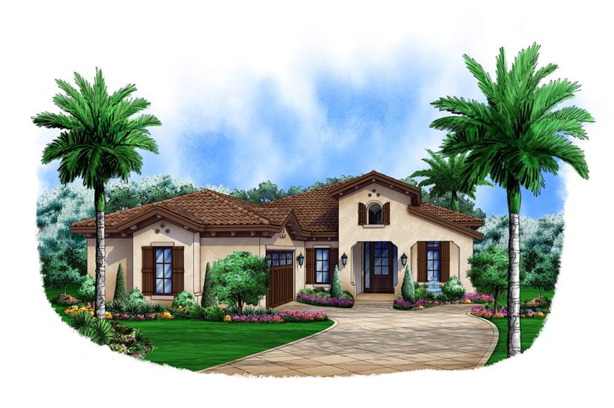 Front elevation of Spanish home (ThePlanCollection: House Plan #175-1103)