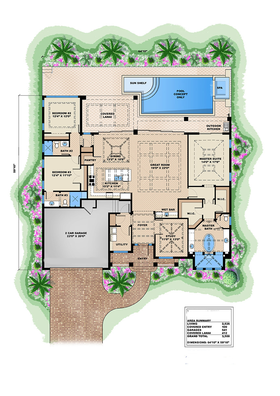 Florida Style House Plan 175 1104 3 Bedrm 2526 Sq Ft