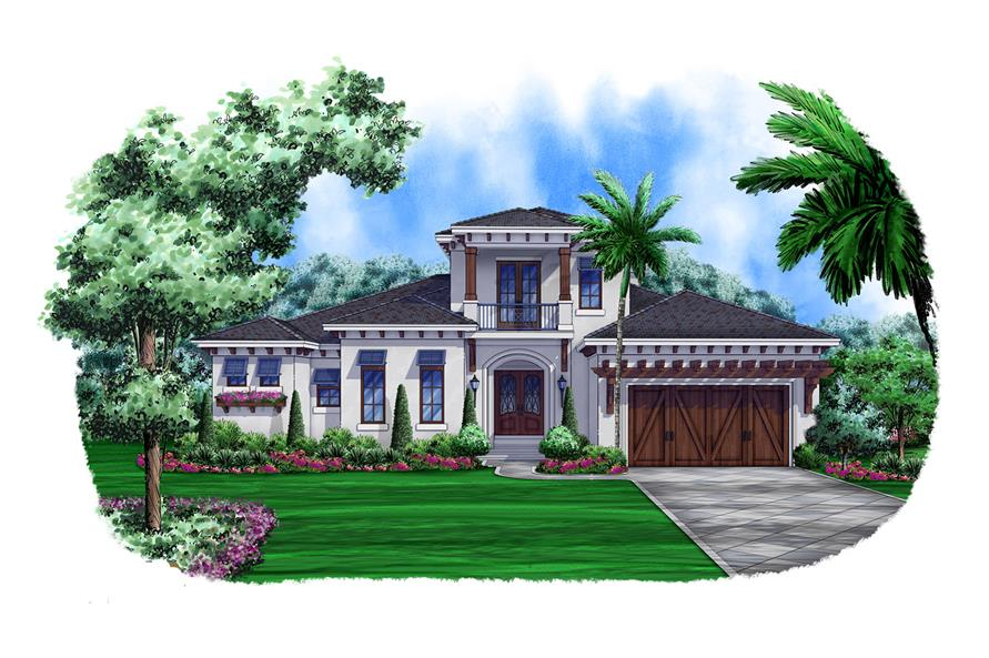 Front elevation of Mediterranean home (ThePlanCollection: House Plan #175-1105)