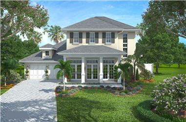 4-Bedroom, 3624 Sq Ft Colonial Home Plan - 175-1107 - Main Exterior