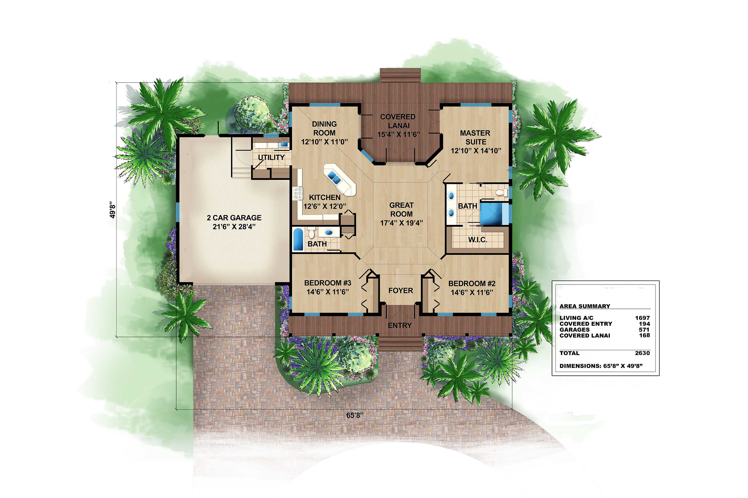 Southern ranch house plan 175 1108 3 bedrm 1697 sq ft for Caribbean home plans