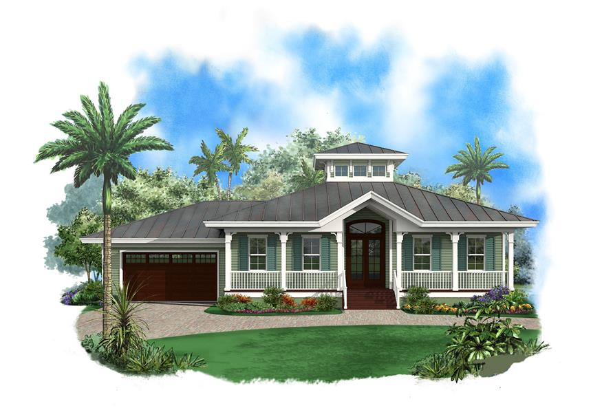 Front elevation of Ranch home (ThePlanCollection: House Plan #175-1108)
