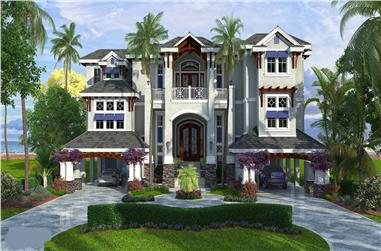 Front elevation of Luxury home (ThePlanCollection: House Plan #175-1109)