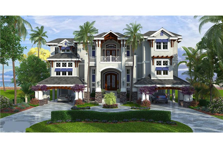 4-Bedroom, 6189 Sq Ft Luxury House Plan - 175-1109 - Front Exterior