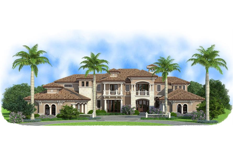 Front elevation of Mediterranean home (ThePlanCollection: House Plan #175-1119)