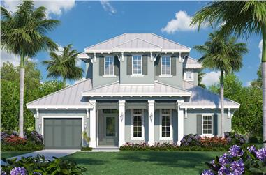 4-Bedroom, 3542 Sq Ft Coastal House Plan - 175-1122 - Front Exterior