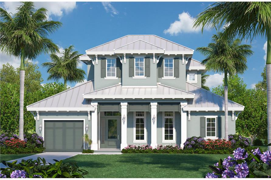 Front elevation of Coastal home (ThePlanCollection: House Plan #175-1122)
