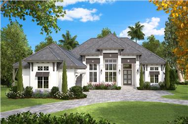 4-Bedroom, 4089 Sq Ft Coastal House Plan - 175-1130 - Front Exterior