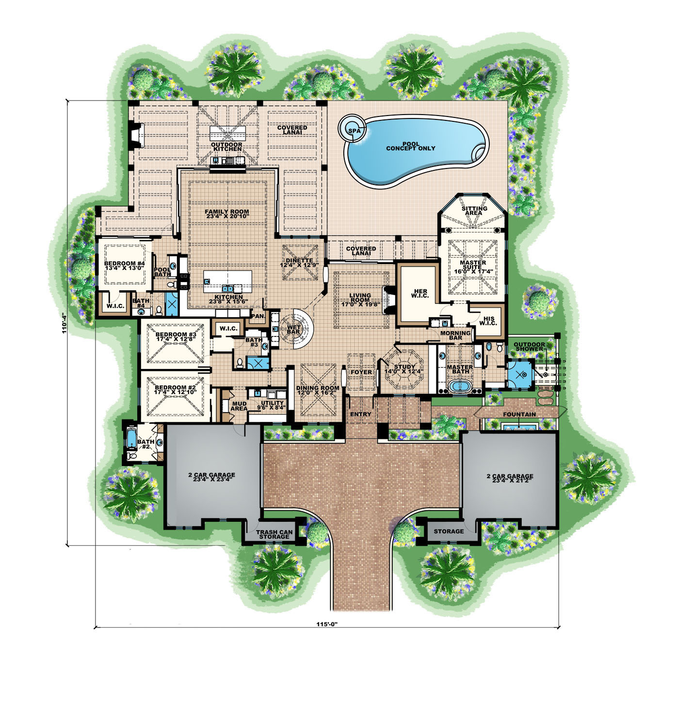 Florida Style House Plan #175-1131: 4 Bedrm, 4817 Sq Ft