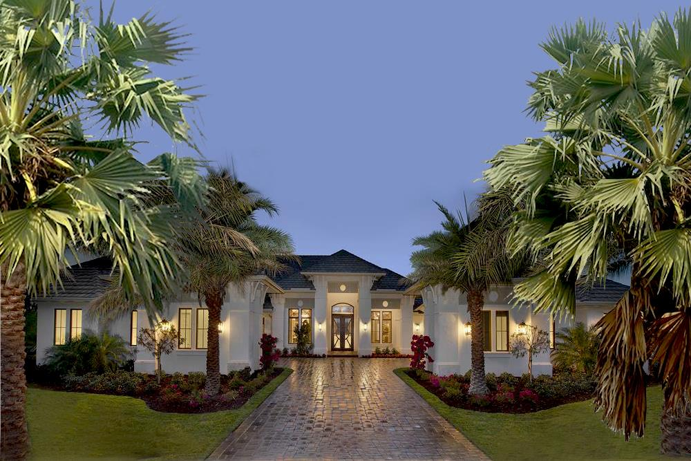 Color rendering of Florida Style home plan (ThePlanCollection: House Plan #175-1131)