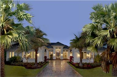 4-Bedroom, 4817 Sq Ft Florida Style House Plan - 175-1131 - Front Exterior