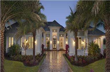 Color rendering of Florida Style home (ThePlanCollection: House Plan #175-1131)