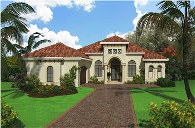 Color rendering of Mediterranean home plan (ThePlanCollection: House Plan #175-1133)
