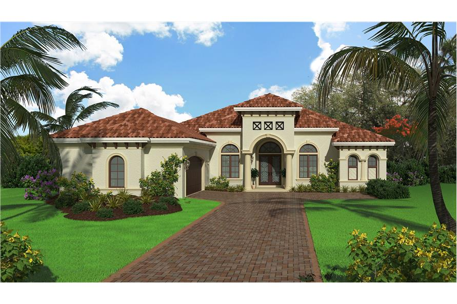 3-Bedroom, 3915 Sq Ft Mediterranean House Plan - 175-1133 - Front Exterior