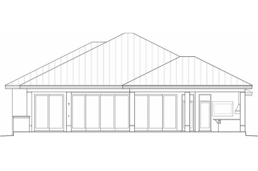 Home Plan Rear Elevation of this 3-Bedroom,2684 Sq Ft Plan -175-1134