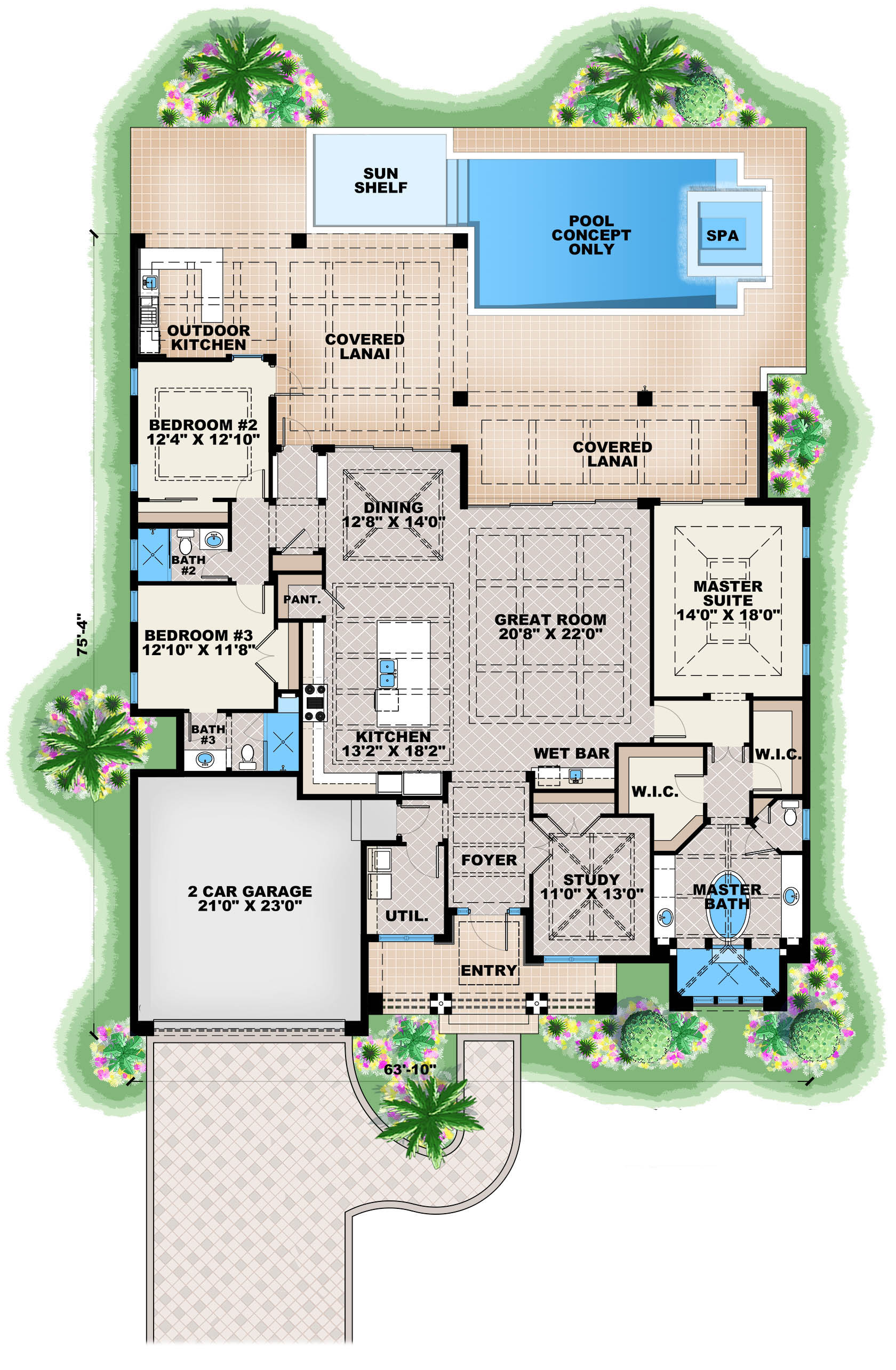 Contemporary house plan 175 1134 3 bedrm 2684 sq ft for Home plans floor plans