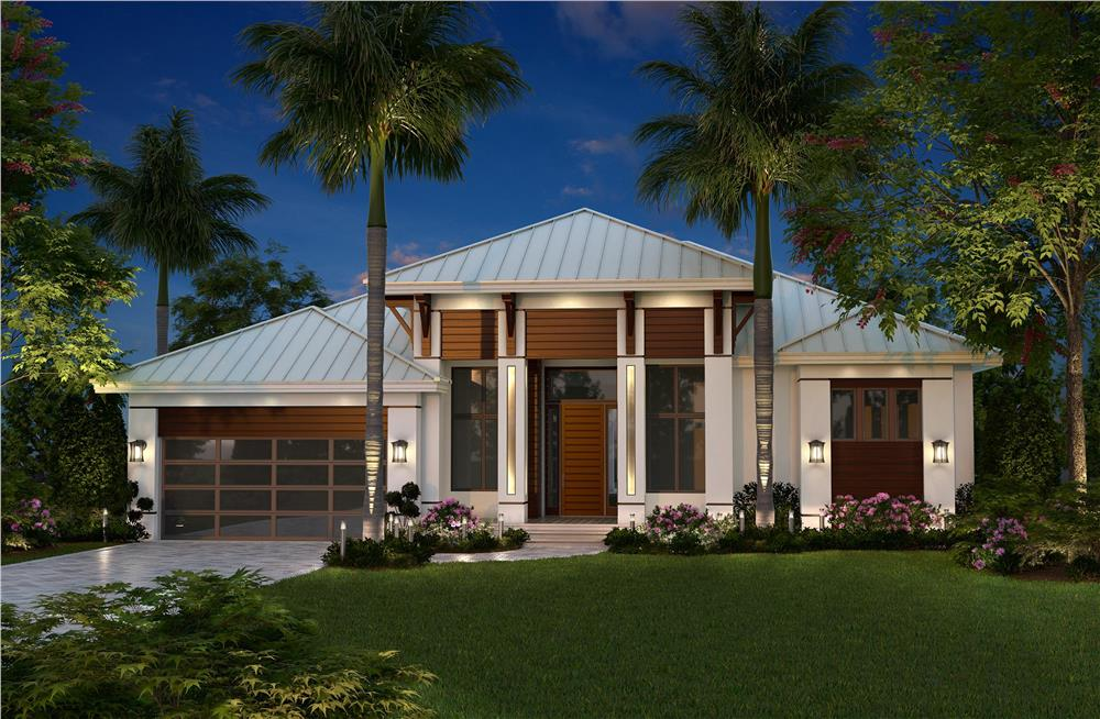 Contemporary home plan in computer photo-realistic rendering (Plan #175-1134)