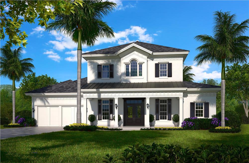 Traditional home plan –computer photo-realistic front elevation (House Plan #175-1135)
