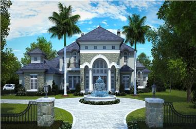 Photo-realistic color rendering of French home plan (House Plan #175-1136)