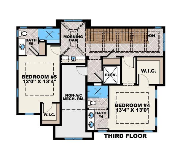 Beachfront House Plan #175-1137: 5 Bedrm, 4800 Sq Ft Home